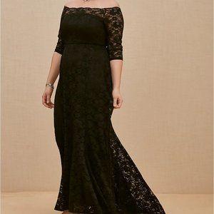 Torrid 14 Dress Gown Black Maxi Lace Off Shoulder